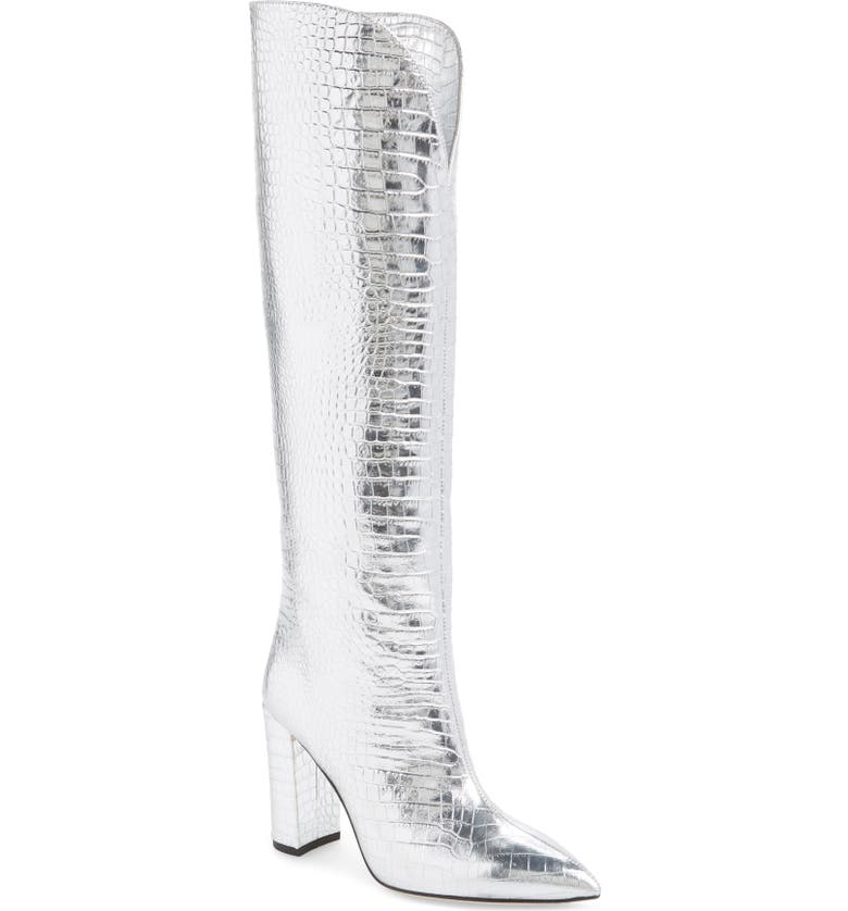 PARIS TEXAS Over the Knee Boot, Main, color, SILVER