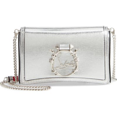 Christian Louboutin Rubylou Snake Embossed Leather Clutch - Metallic