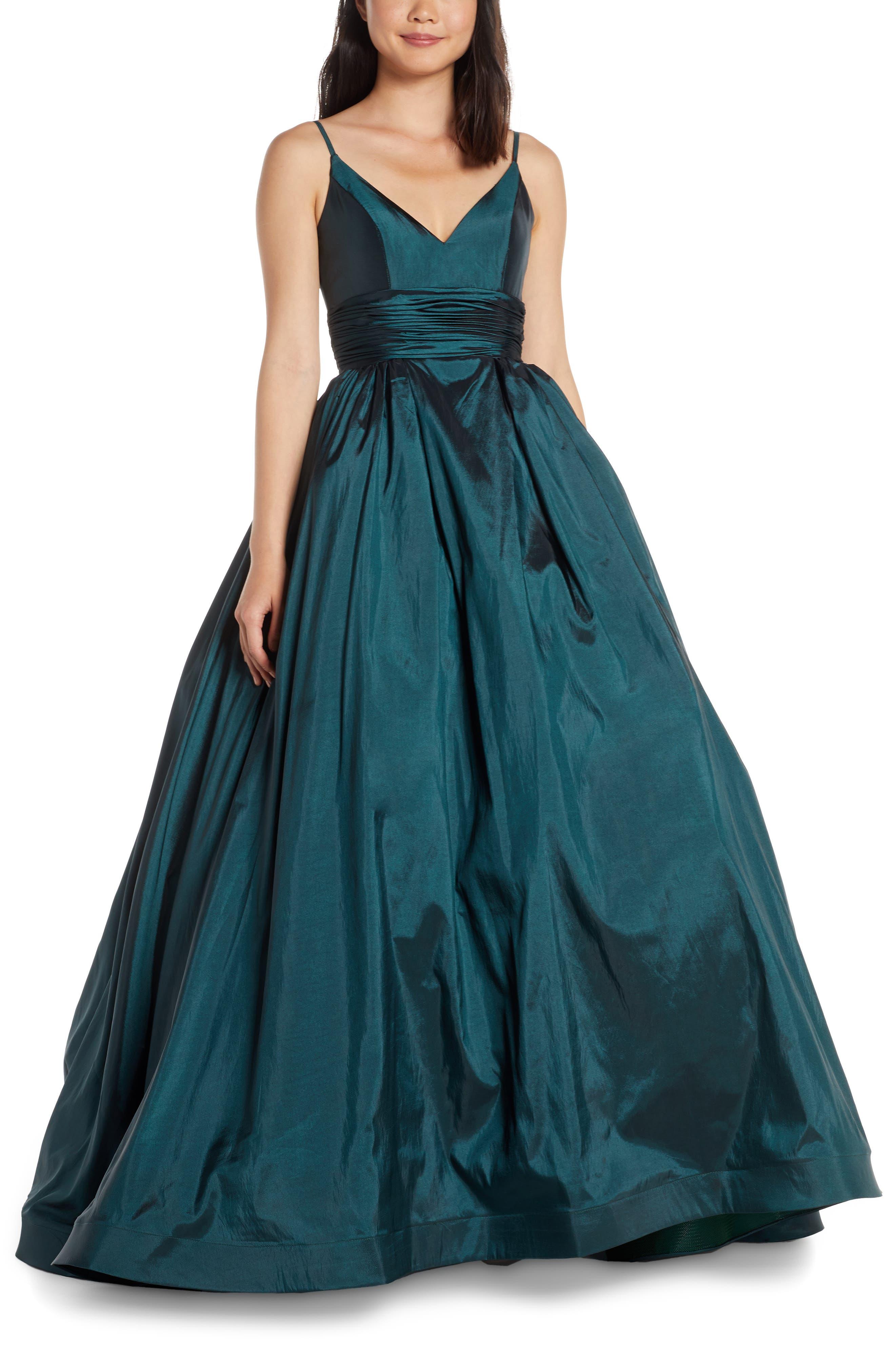 MAC Duggal V-Neck Satin Prom Dress, Green