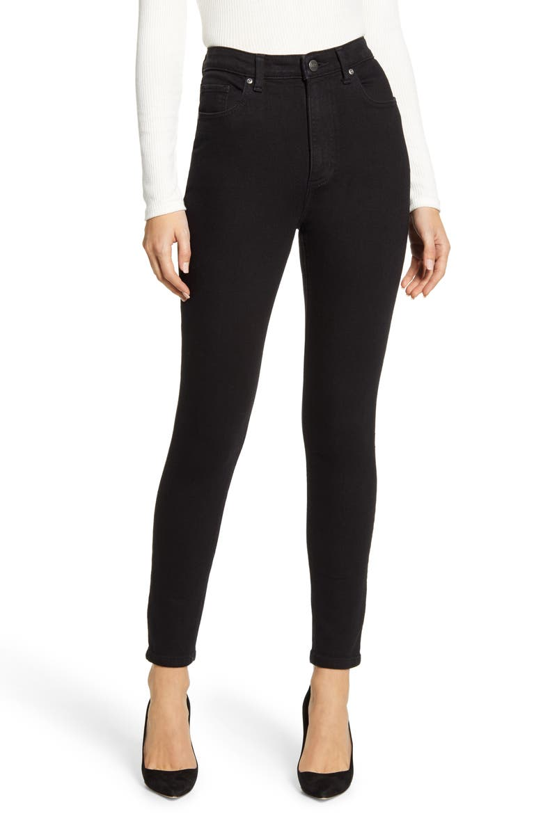 LEE High Waist Skinny Jeans, Main, color, BLACK