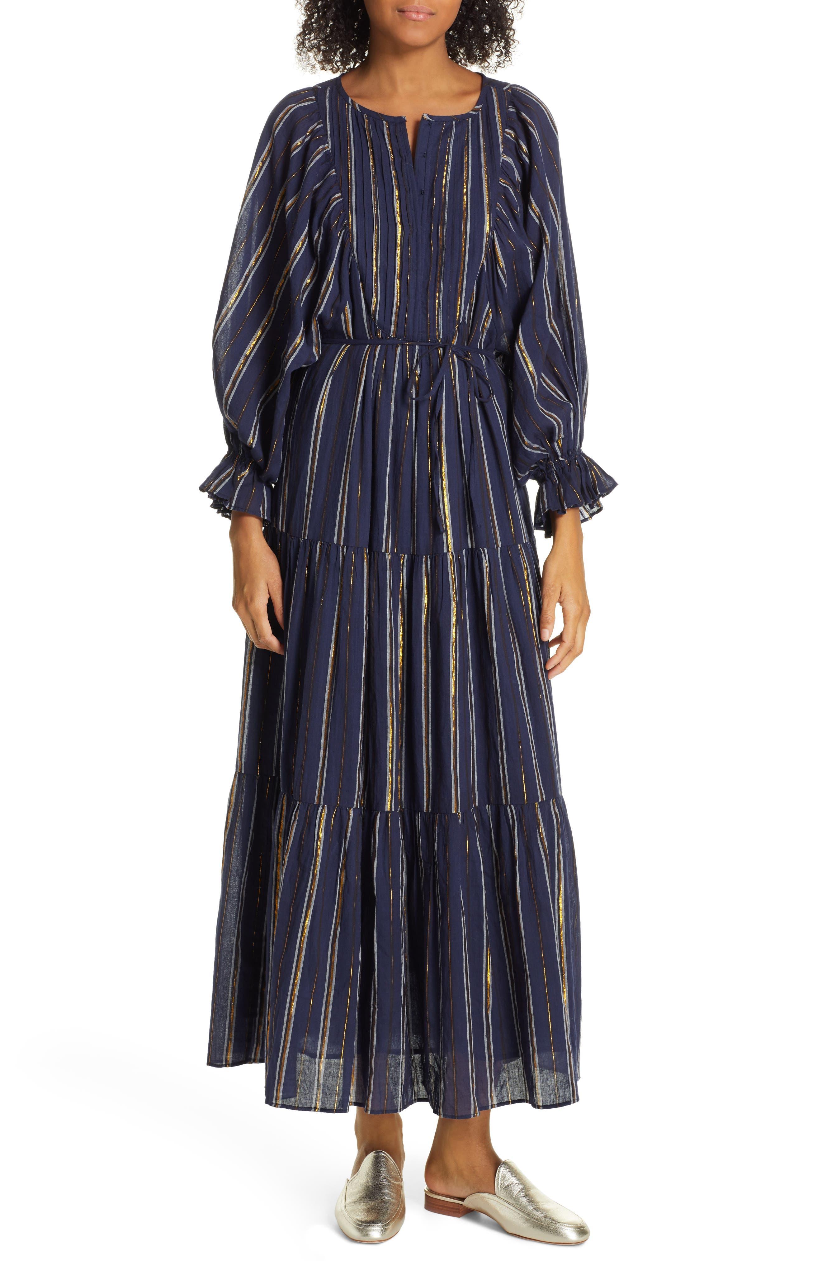 Apiece Apart Francesca Long Sleeve Bib Tier Dress, Blue