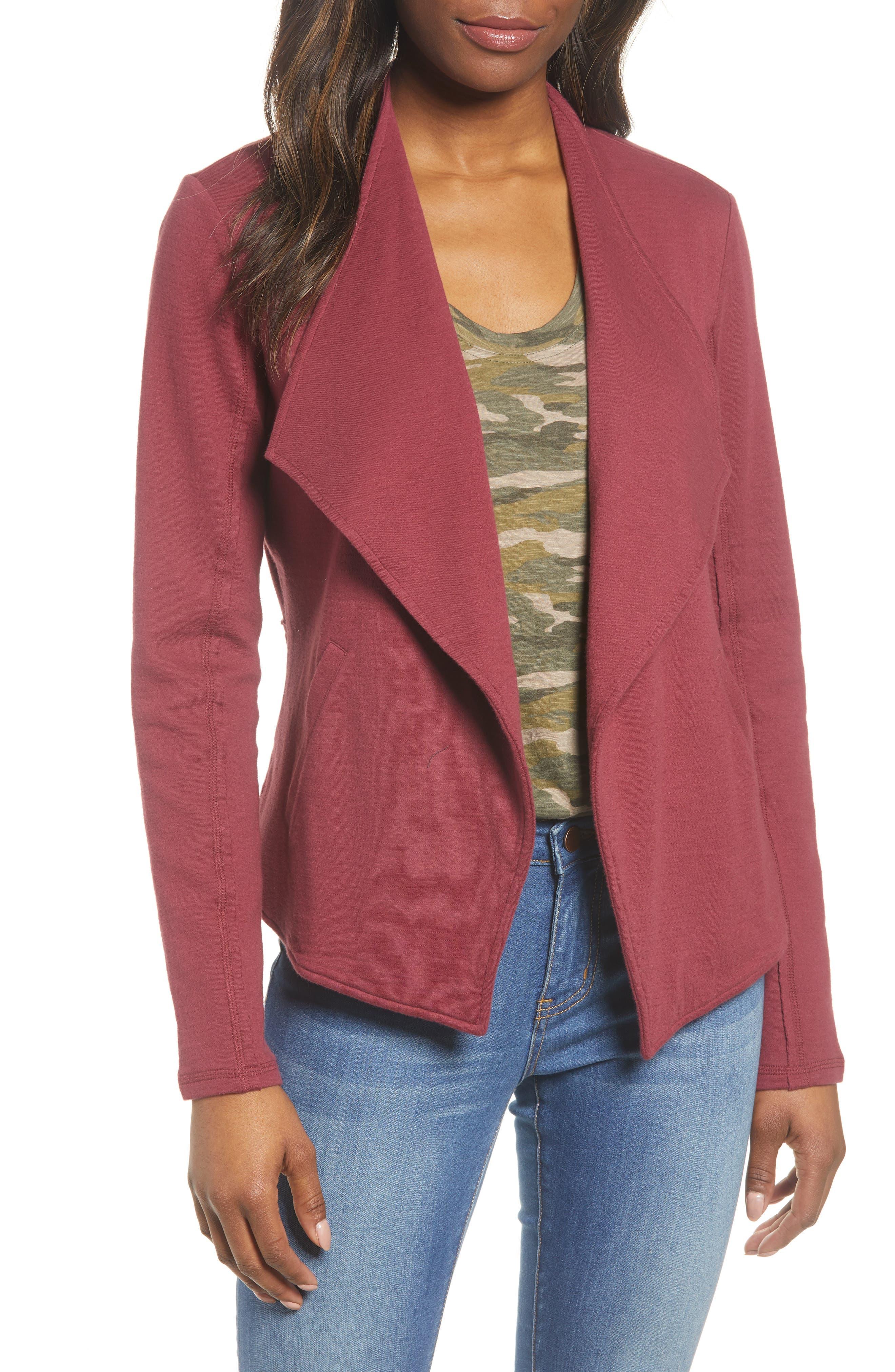 Caslon® Drape Collar Knit Blazer (Regular & Petite)