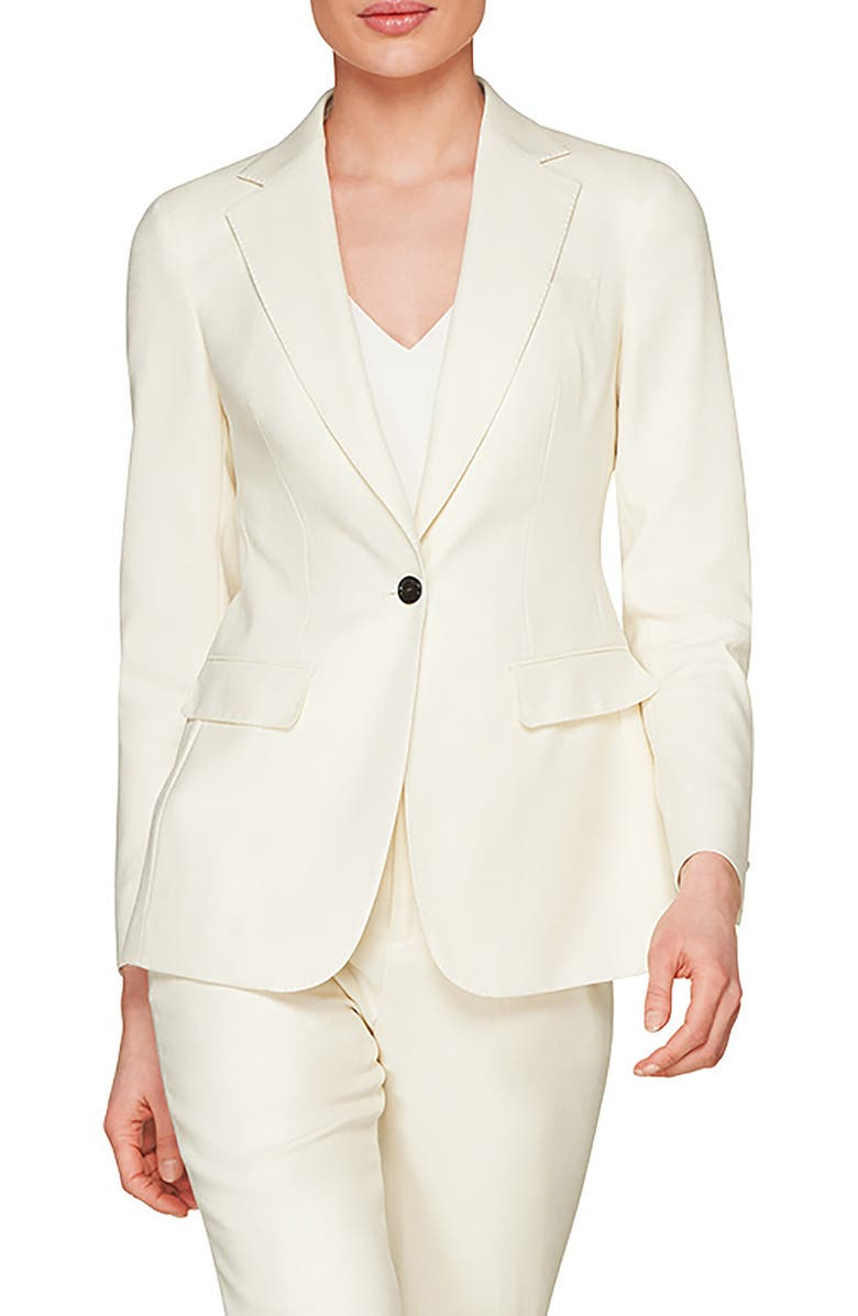 SUISTUDIO Cameron Single Breasted Wool Blazer, Main, color, OFF WHITE