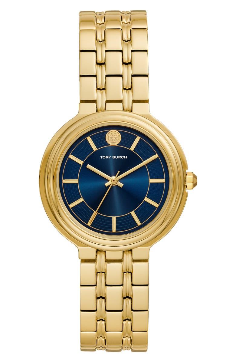 TORY BURCH Bailey Bracelet Watch, 34mm, Main, color, GOLD/ BLUE/ GOLD