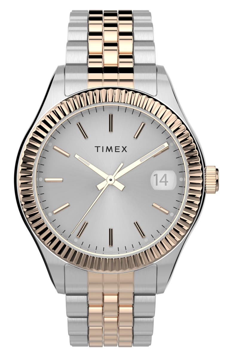 TIMEX<SUP>®</SUP> Waterbury Legacy Bracelet Watch, 34mm, Main, color, SILVER/ GOLD