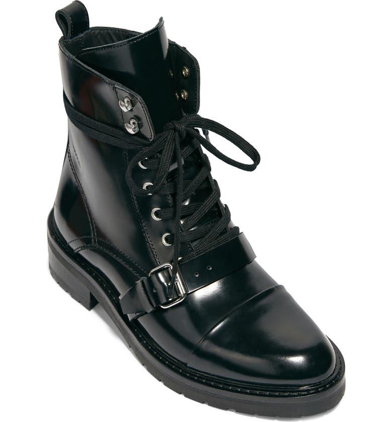 ALLSAINTS Donita Combat Boot, Main, color, BLACK/ BLACK LEATHER