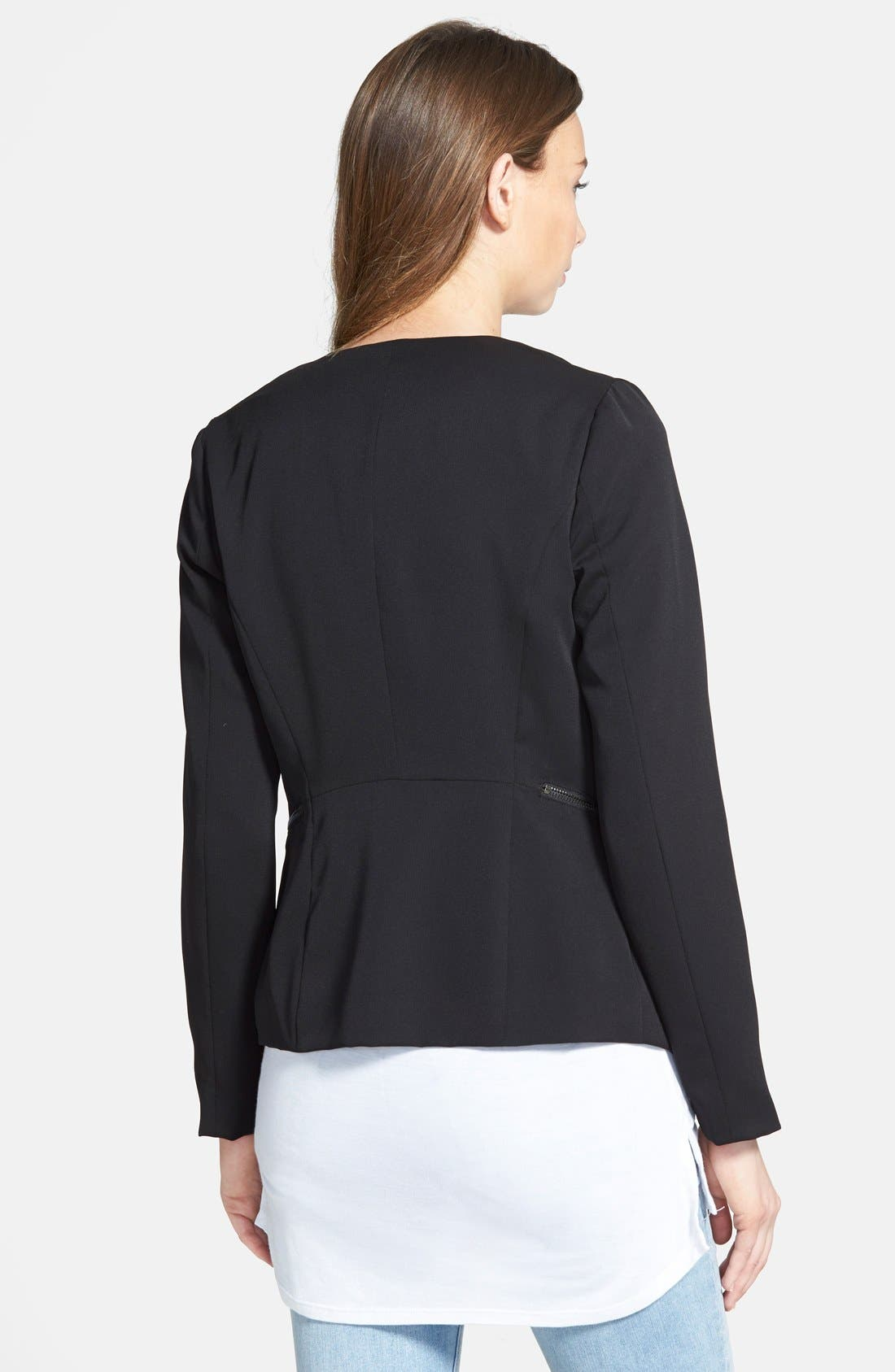 ,                             Drapey Zip Blazer,                             Alternate thumbnail 3, color,                             001