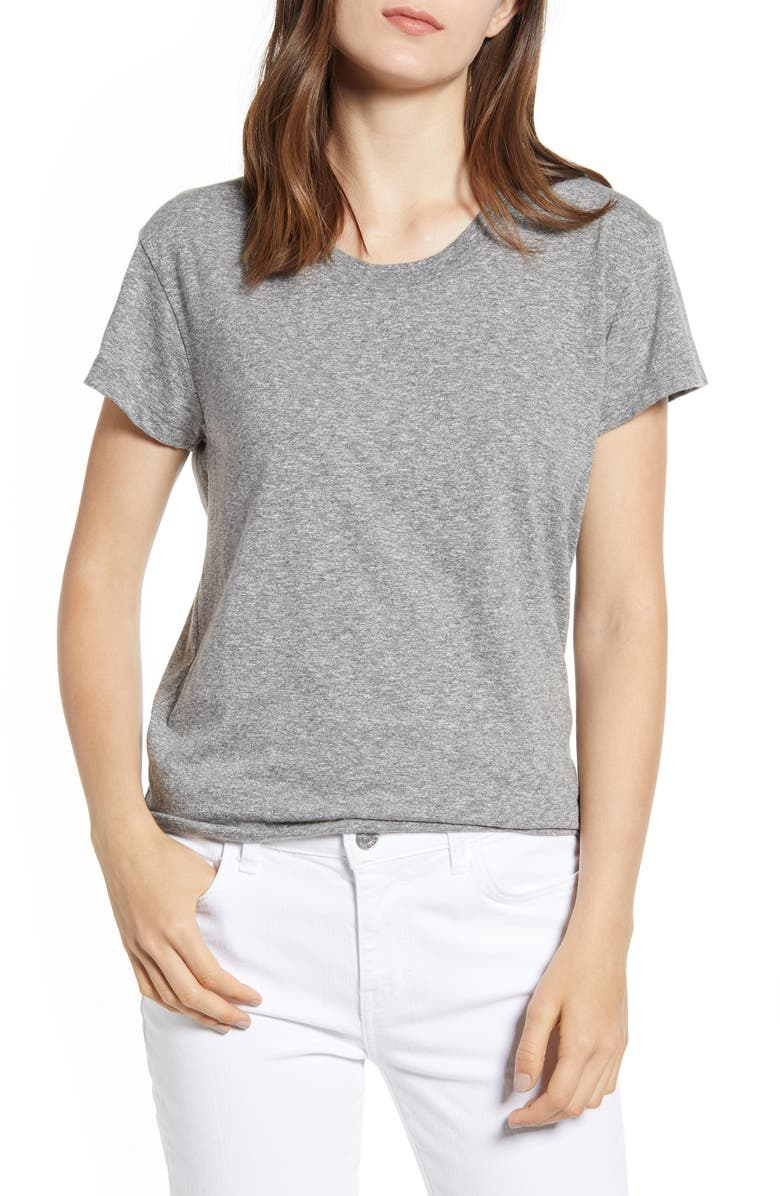CURRENT/ELLIOTT The Relaxed Crewneck Tee, Main, color, HEATHER GREY