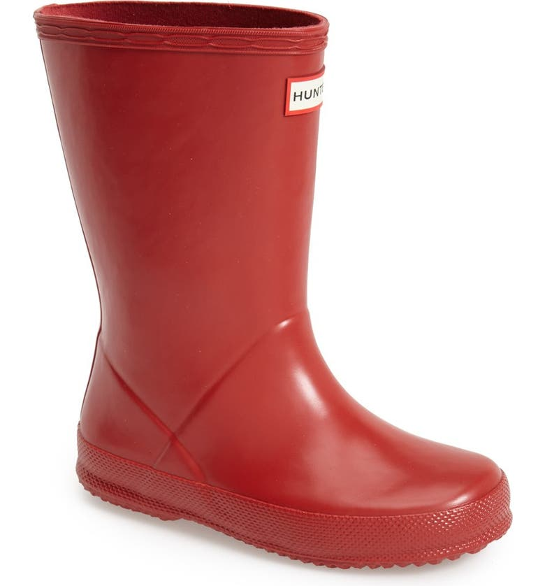 HUNTER First Classic Waterproof Rain Boot, Main, color, MILITARY RED
