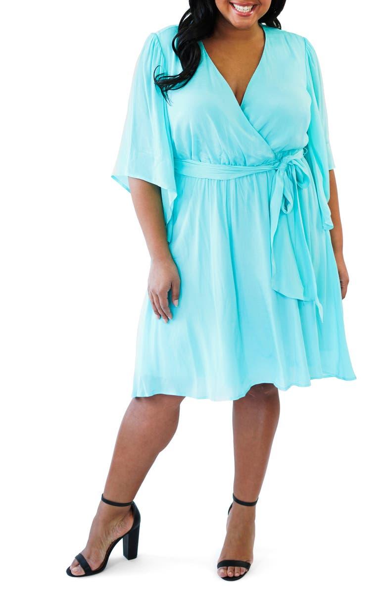 MARÉE POUR TOI Faux Wrap Dress, Main, color, TURQUOISE