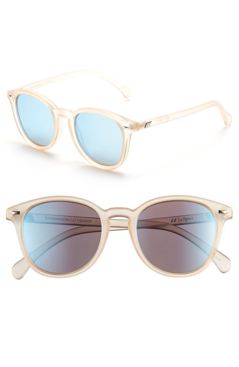 LE SPECS Bandwagon 51mm Sunglasses, Main, color, RAW SUGAR/ ICE BLUE MIRROR
