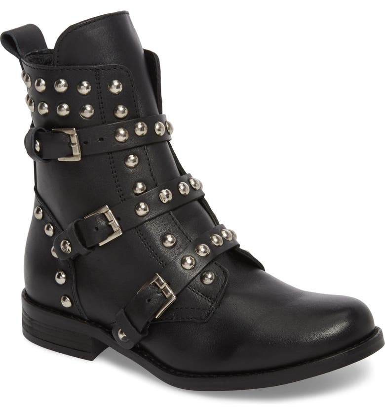 STEVE MADDEN Studded Spunky Boot, Main, color, 001