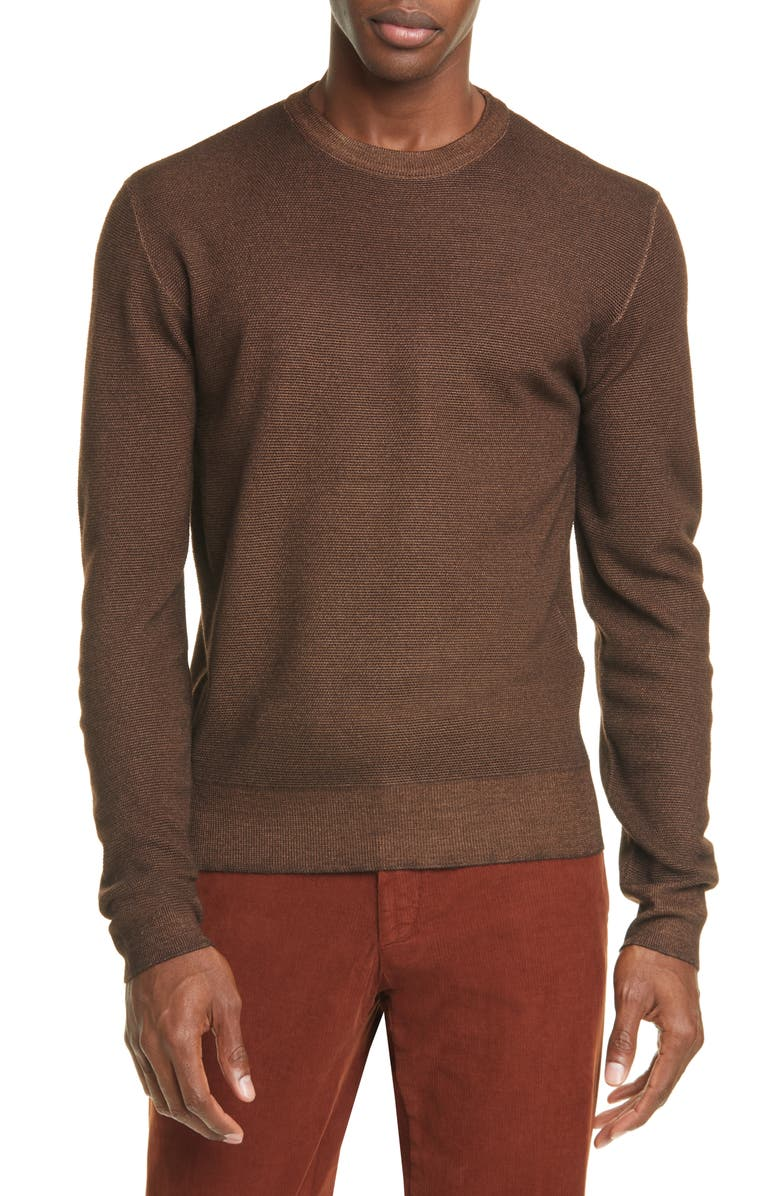 BOGLIOLI Trim Fit Garment Dyed Wool Crewneck Sweater, Main, color, 200