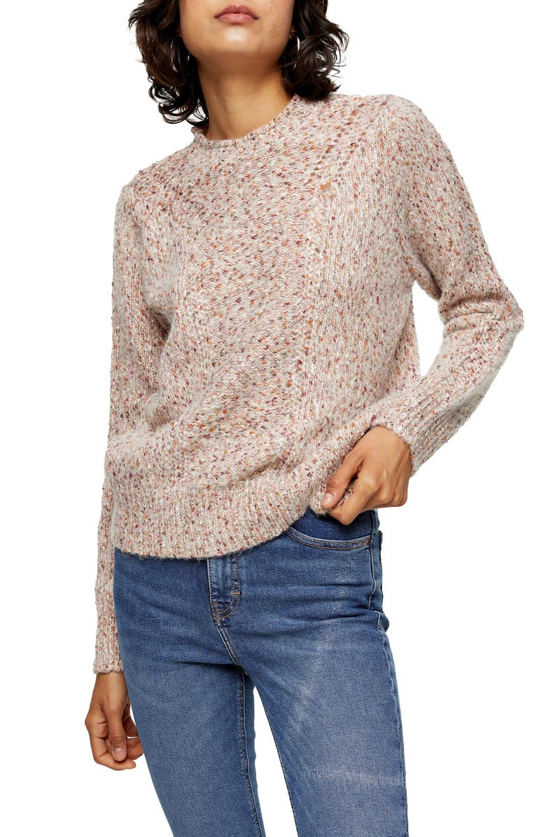TOPSHOP Pointelle Sweater, Main, color, IVORY MULTI