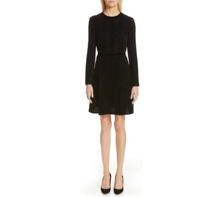 Emporio Armani Long Sleeve Textured Velvet Dress, US / 44 IT - Black