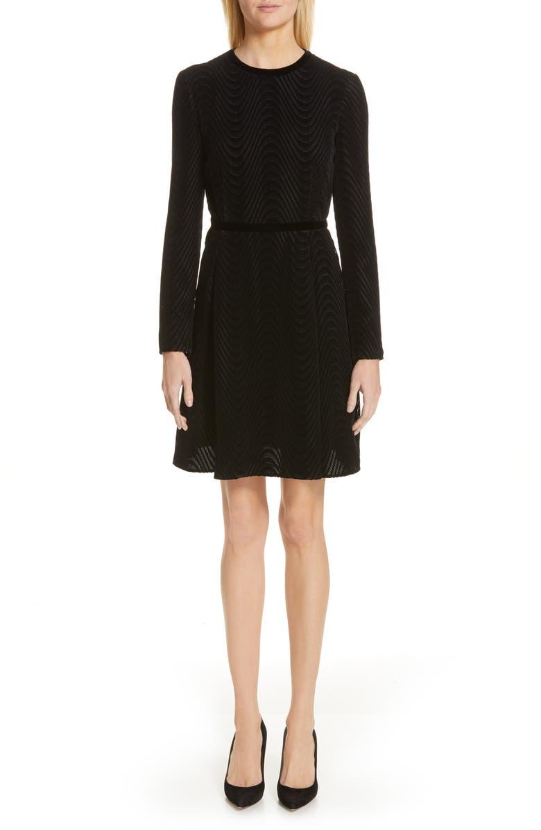 EMPORIO ARMANI Long Sleeve Textured Velvet Dress, Main, color, BLACK