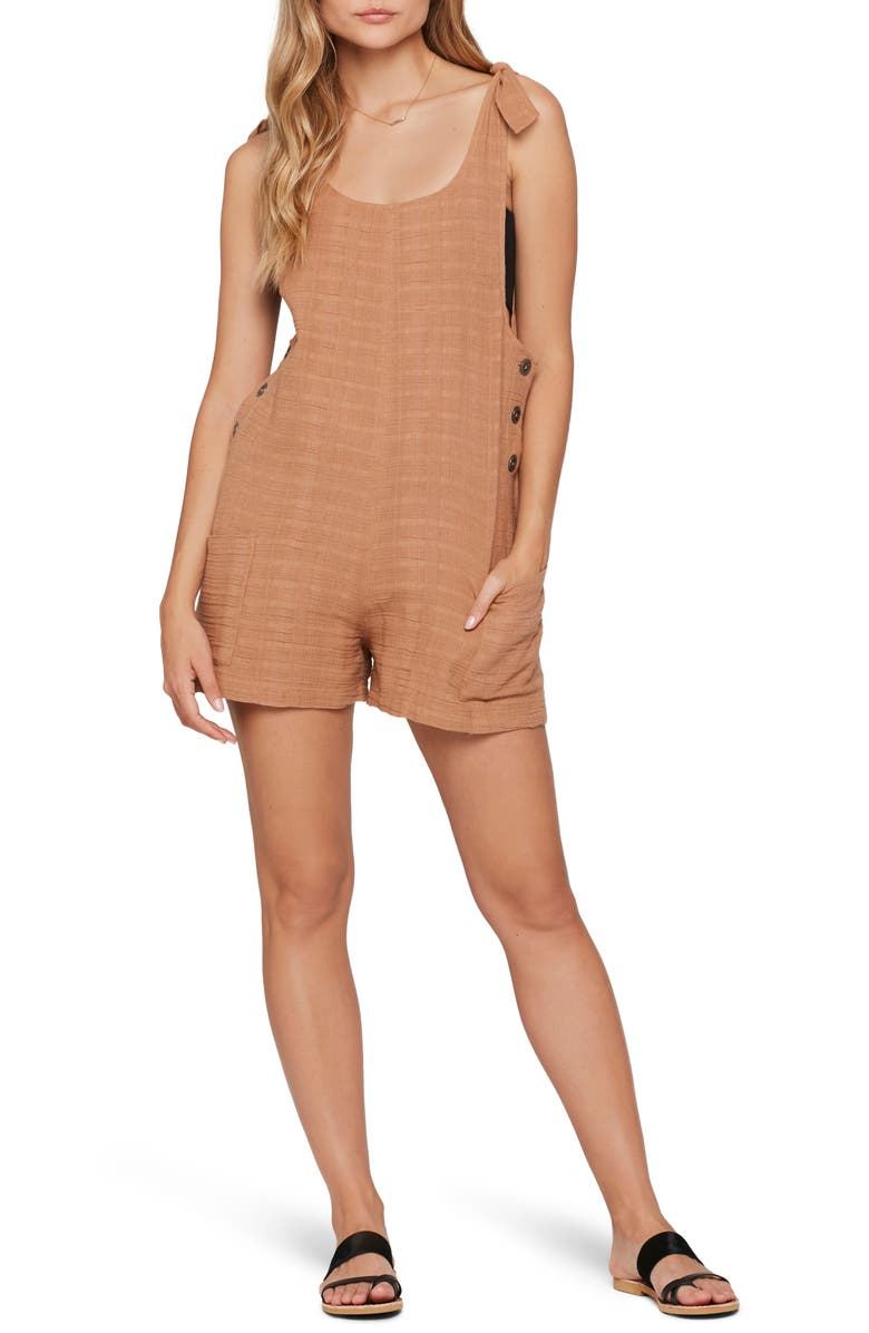 L SPACE Carina Cover-Up Romper, Main, color, CAMEL