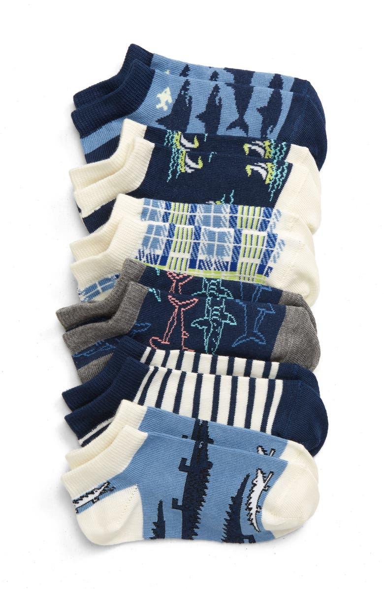 TUCKER + TATE Shark Attack 6-Pack No Show Socks, Main, color, NAVY DENIM SEA CREATURE