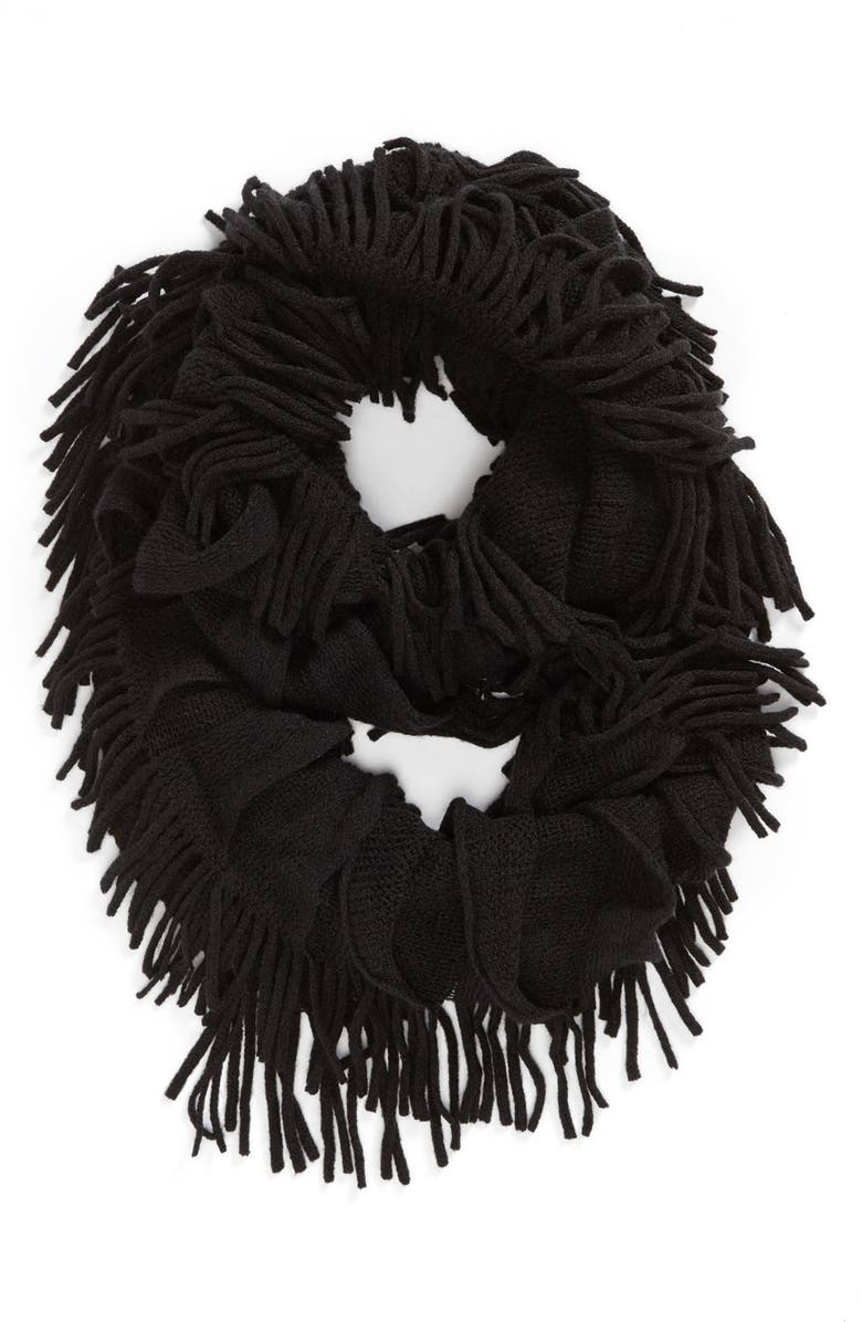 DAVID & YOUNG Fringe Infinity Scarf, Main, color, 001