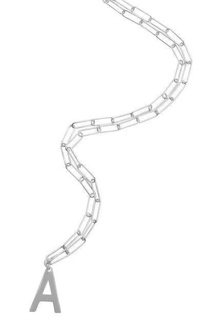 Image of ADORNIA Rhodium Plated Sterling Silver Paperclip Chain Initial Necklace