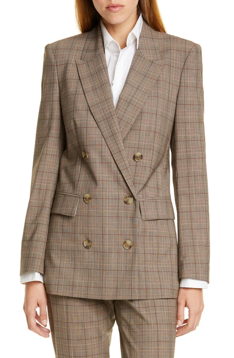 BOSS Jalorra Glen Check Double Breasted Stretch Wool Suit Jacket, Main, color, TERRA FANTASY