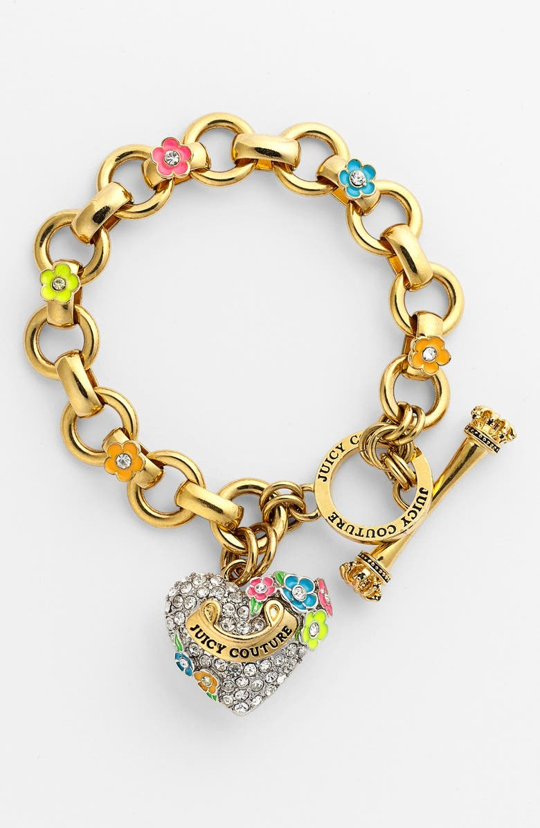 JUICY COUTURE 'Blooming Hearts' Charm Bracelet, Main, color, 650