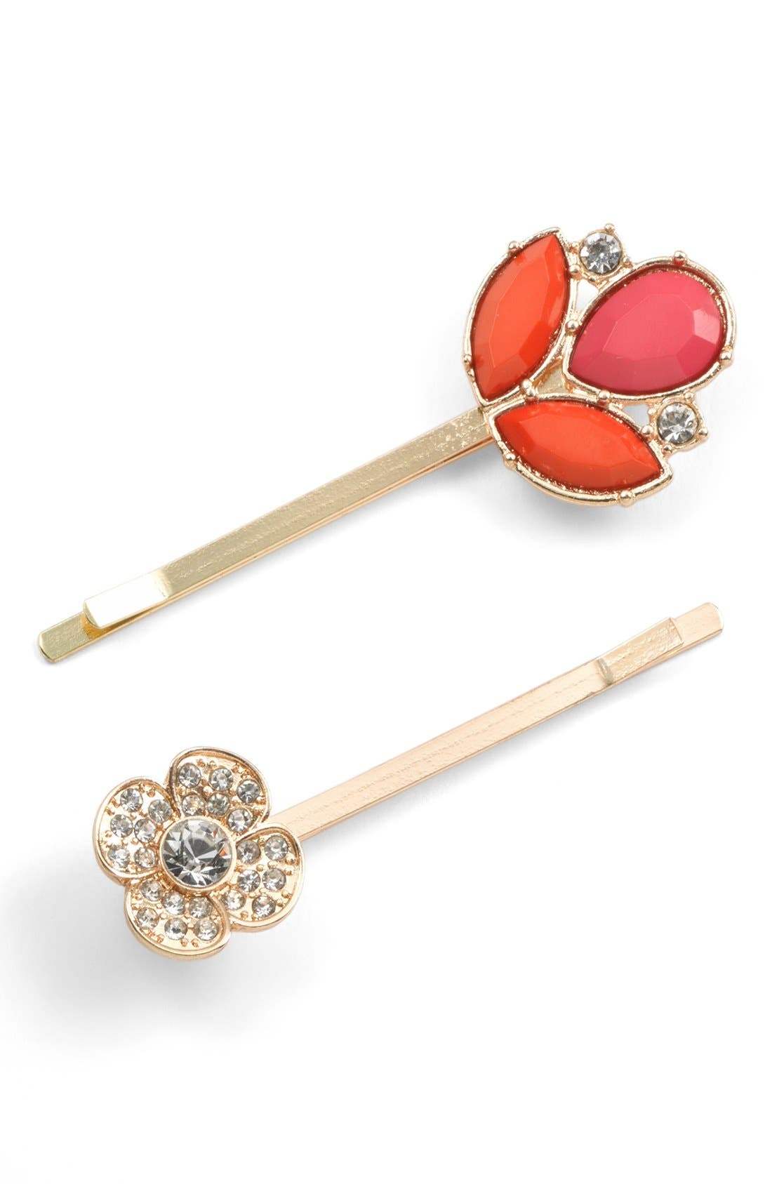 'Jeweled Leaf' Bobby Pins, Main, color, 600