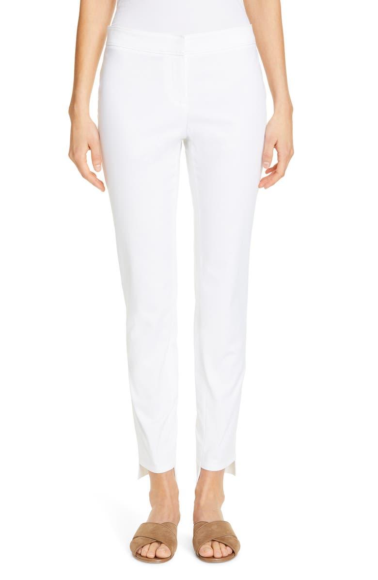 LAFAYETTE 148 NEW YORK Manhattan Fundamental Step Hem Slim Pants, Main, color, 100