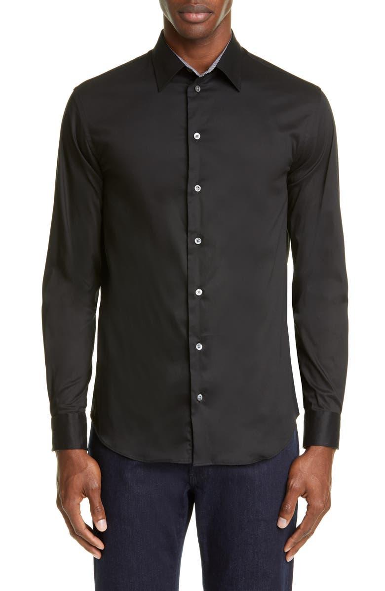 EMPORIO ARMANI Trim Fit Button-Up Shirt, Main, color, BLACK