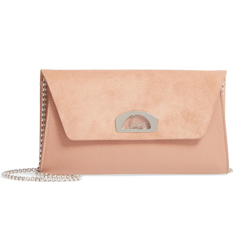 CHRISTIAN LOUBOUTIN Vero Dodat Velour Suede & Leather Clutch, Main, color, NUDE/ NUDE