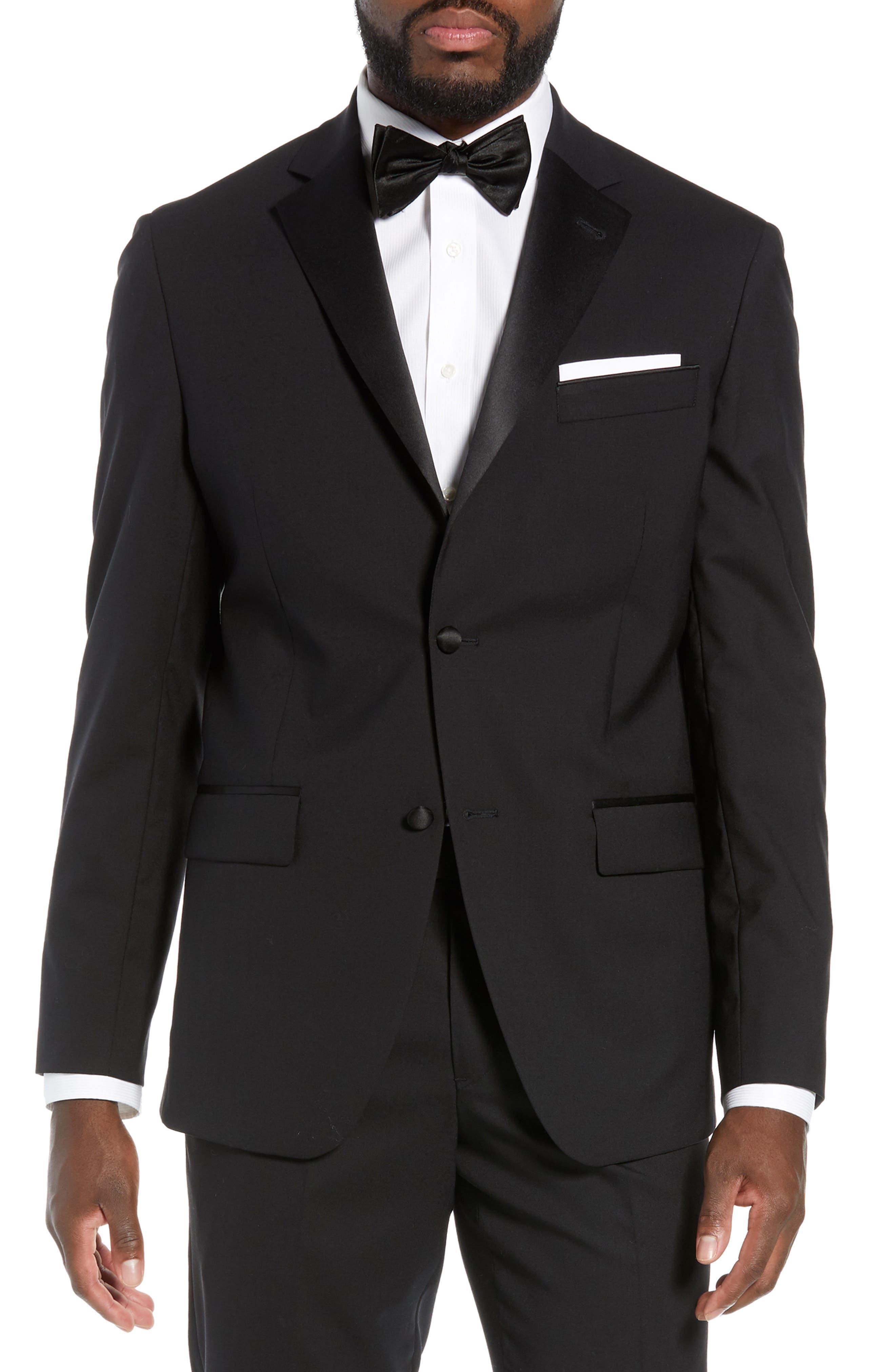 Trim Fit Stretch Wool Tuxedo Jacket, Main, color, BLACK
