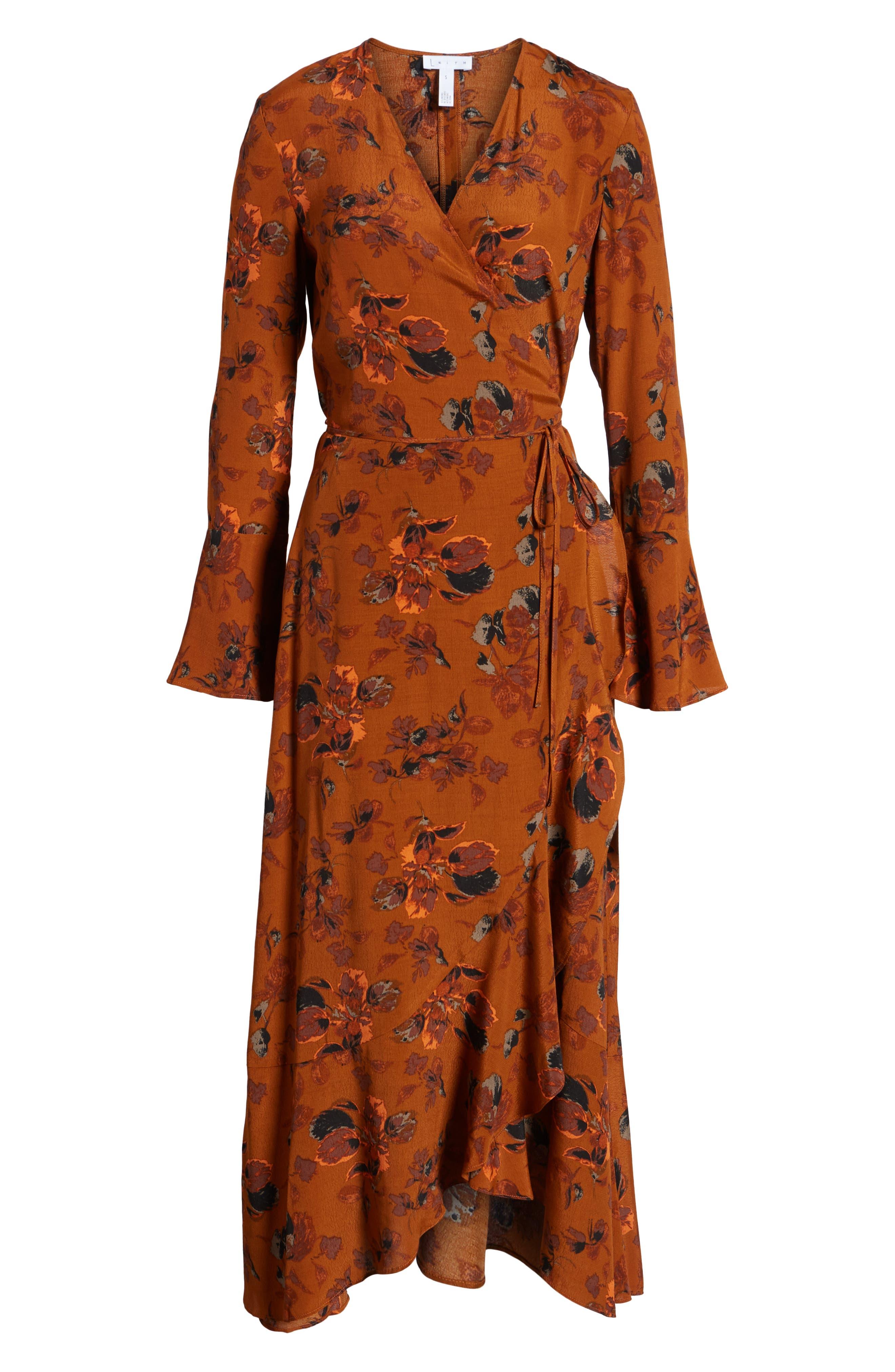 ,                             Bell Sleeve Wrap Midi Dress,                             Alternate thumbnail 9, color,                             RUST CARMEL FALL FOLIAGE