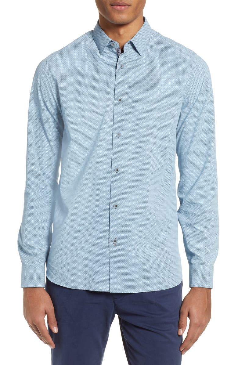 TED BAKER LONDON Calligr Slim Fit Sport Shirt, Main, color, BLUE