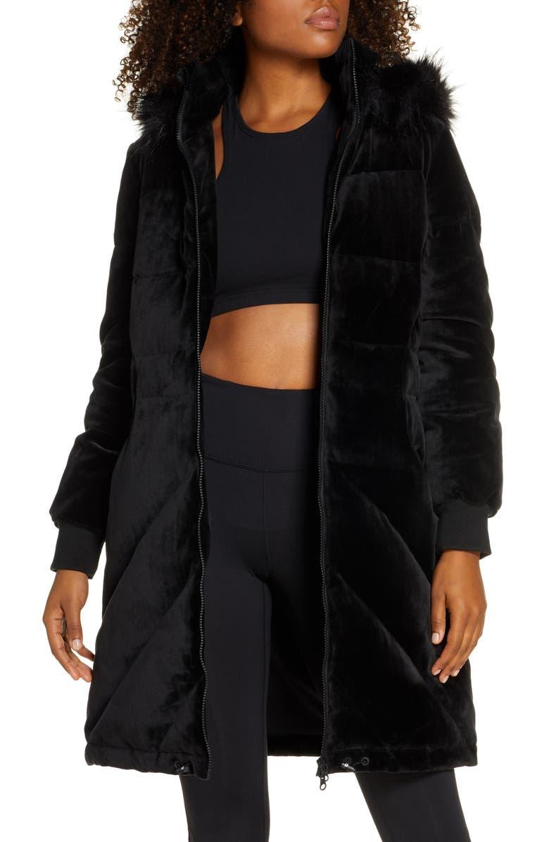 BLANC NOIR Alexandra Velvet Down Jacket with Faux Fur Trim, Main, color, BLACK