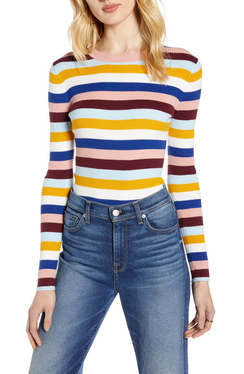 HALOGEN<SUP>®</SUP> Ribbed Sweater, Main, color, PINK MULTI STRIPE