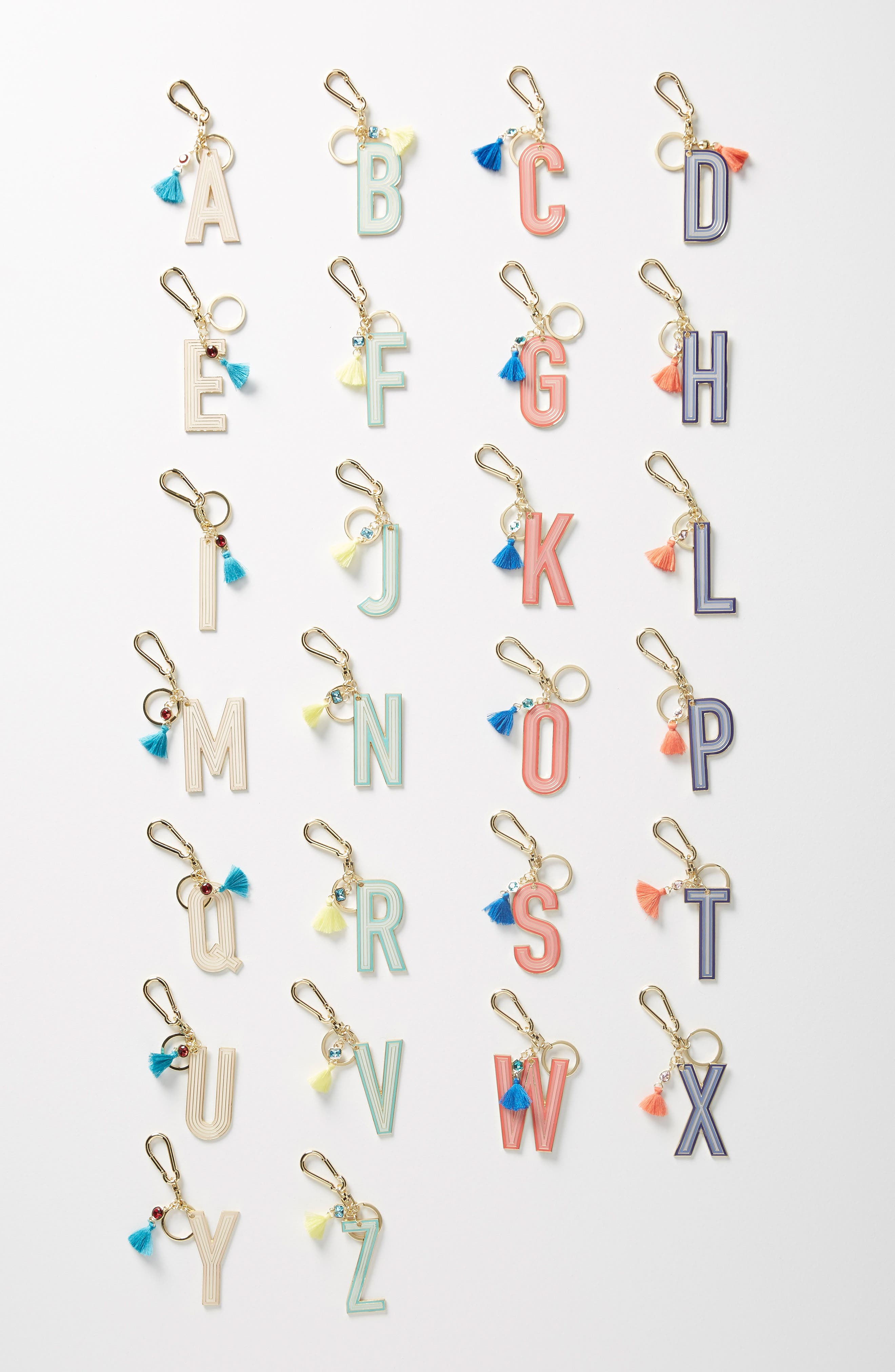 women's anthropologie juniper monogram key chain - metallic