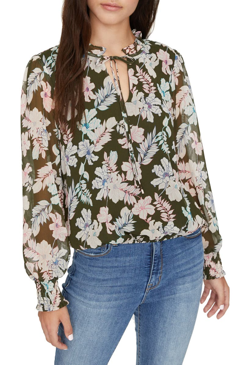 SANCTUARY Love in Bloom Long Sleeve Top, Main, color, MINI TROPIC PUNCH