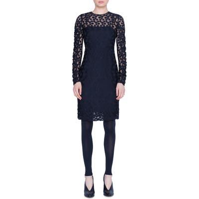 Akris Punto Signature Dot Long Sleeve Tulle Dress, Black