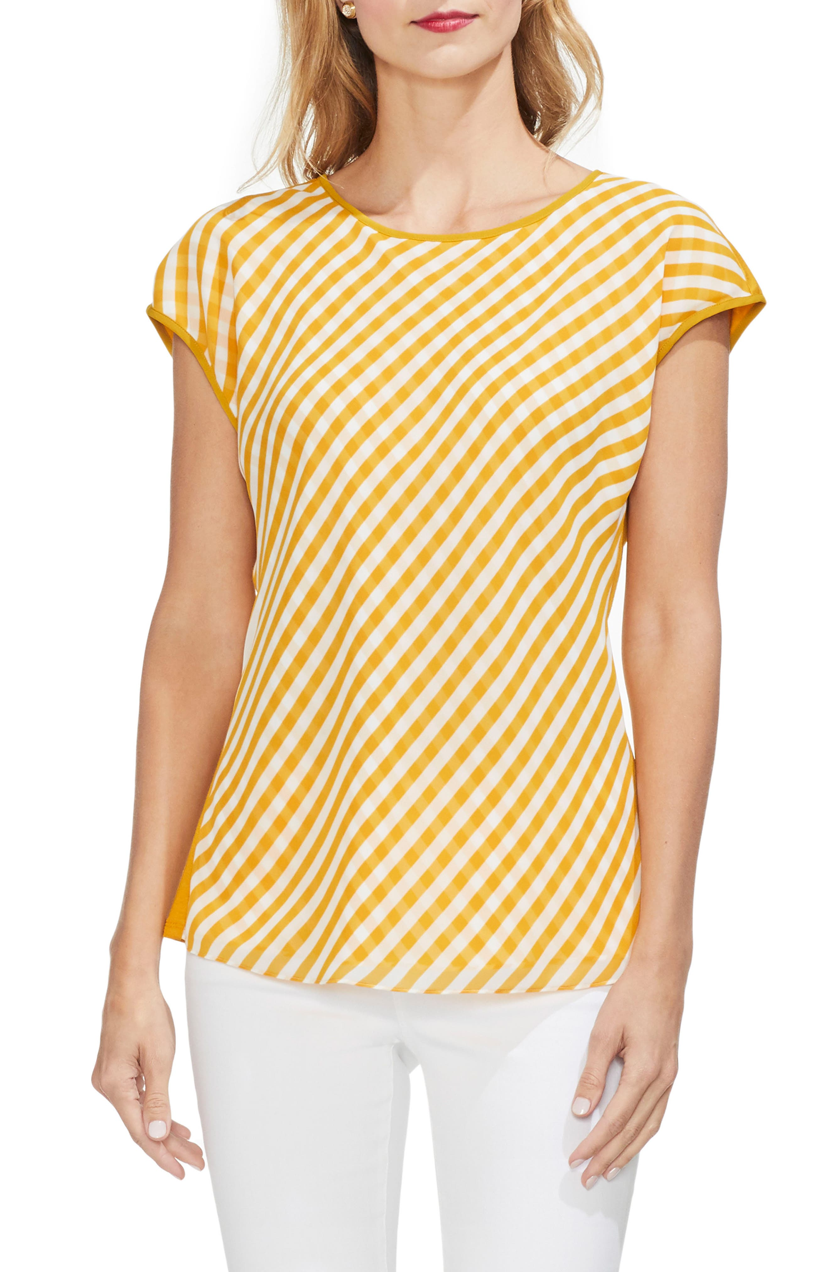 Image of Vince Camuto Gingham Front Cap Sleeve Top