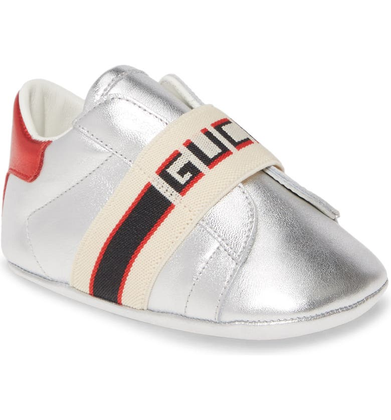 GUCCI New Ace Logo Strap Sneaker, Main, color, SILVER