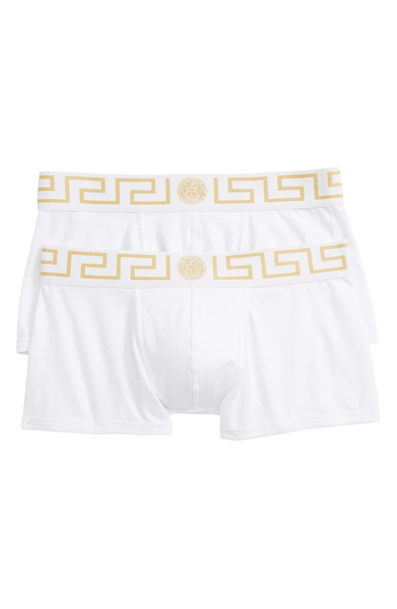 VERSACE 2-Pack Low Rise Trunks, Main, color, WHITE/ GREEK/ GOLD