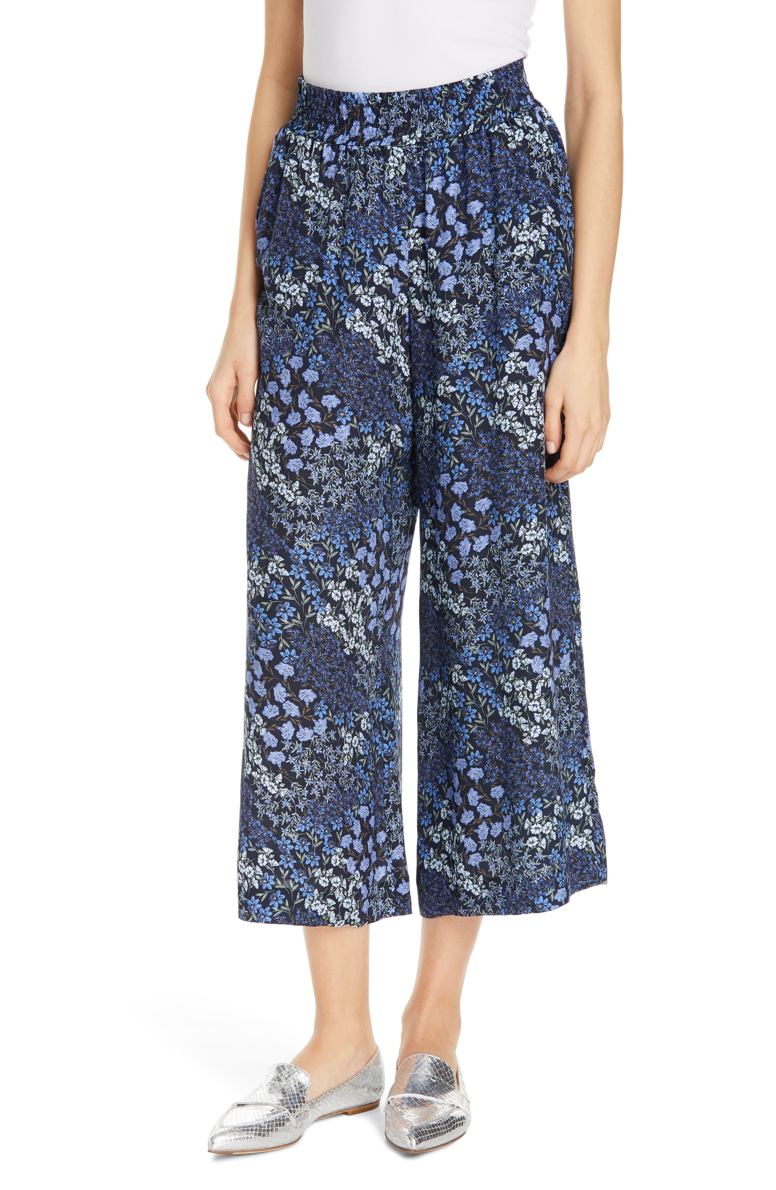 Floral Wide Leg Crop Silk Pants, Main, color, NAVY COMBO