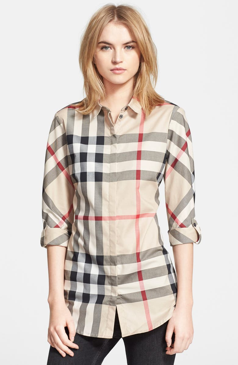 BURBERRY Woven Check Shirt, Main, color, 272