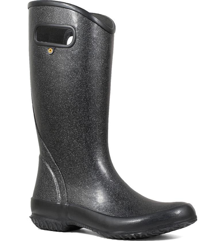 BOGS Glitter Waterproof Rain Boot, Main, color, BLACK