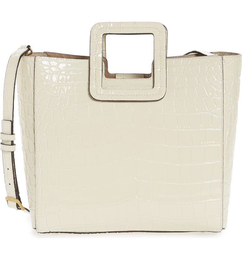 STAUD Shirley Croc Embossed Leather Tote, Main, color, CREAM