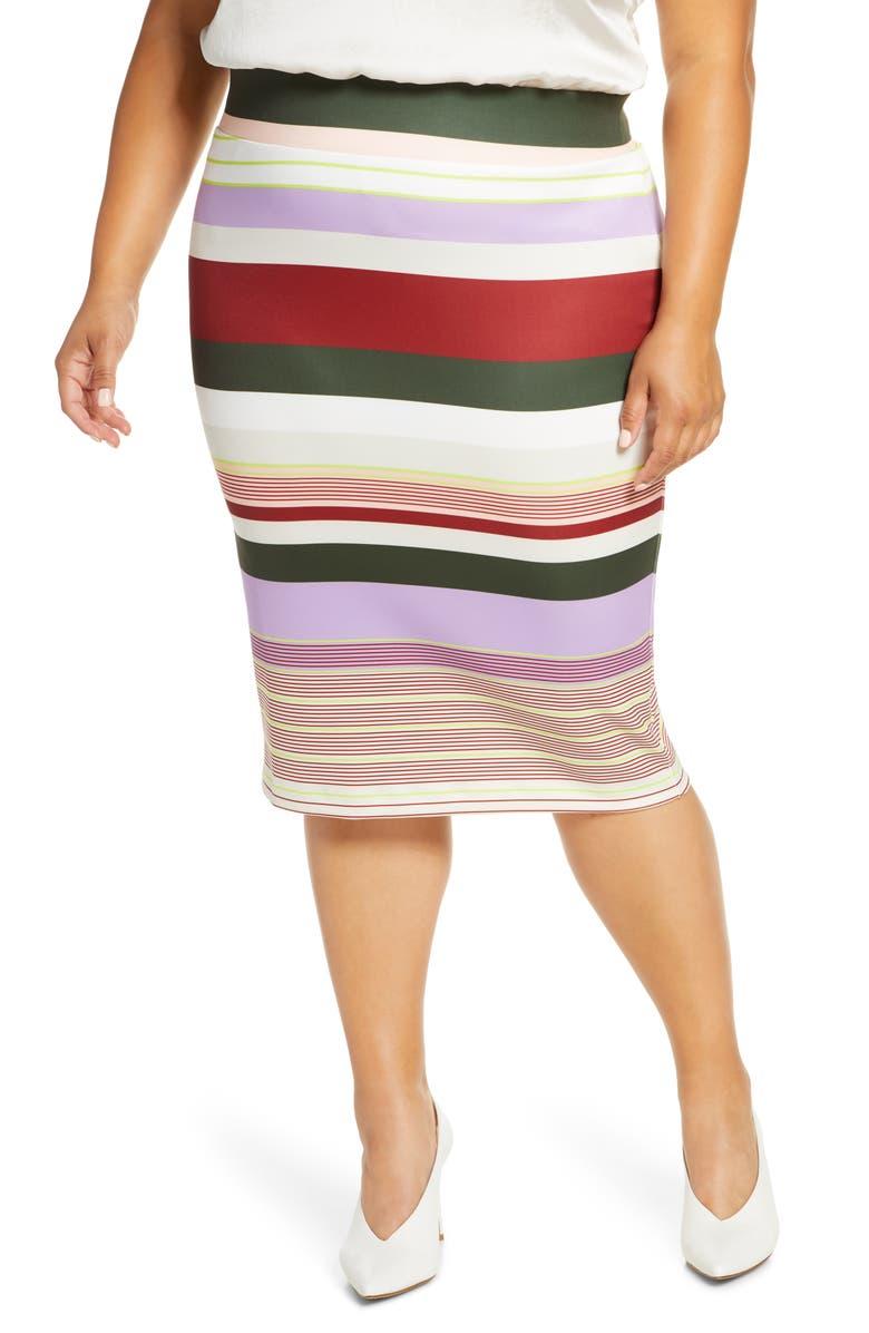 ELOQUII Neoprene Column Skirt, Main, color, STRIPED AWAY