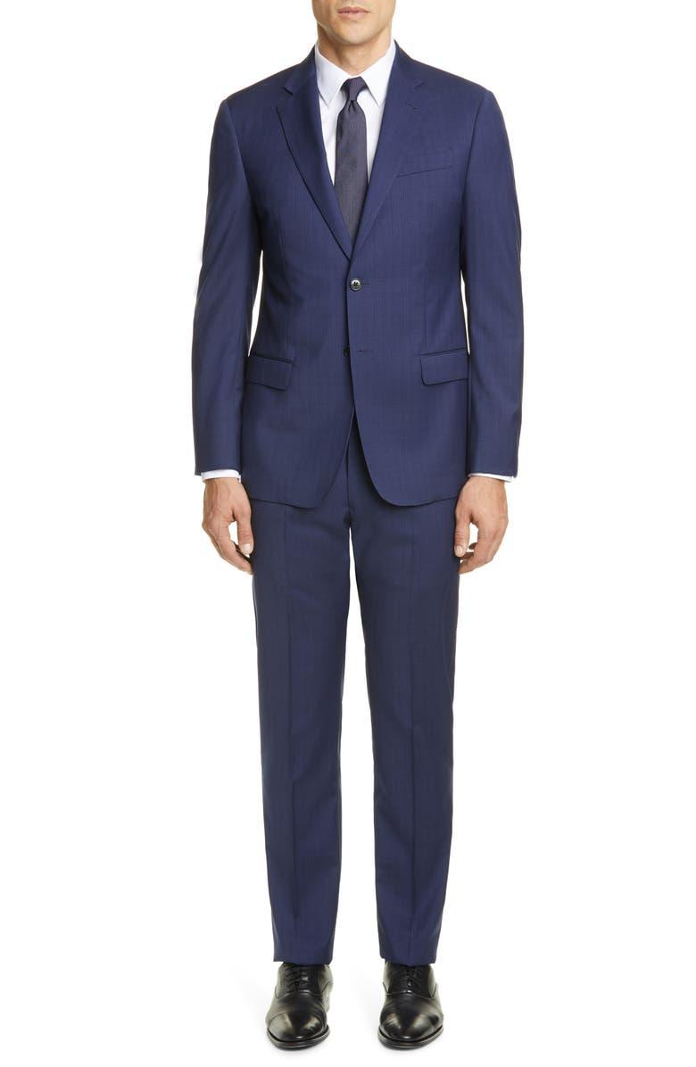 EMPORIO ARMANI G Line Trim Fit Solid Wool Suit, Main, color, BLUE