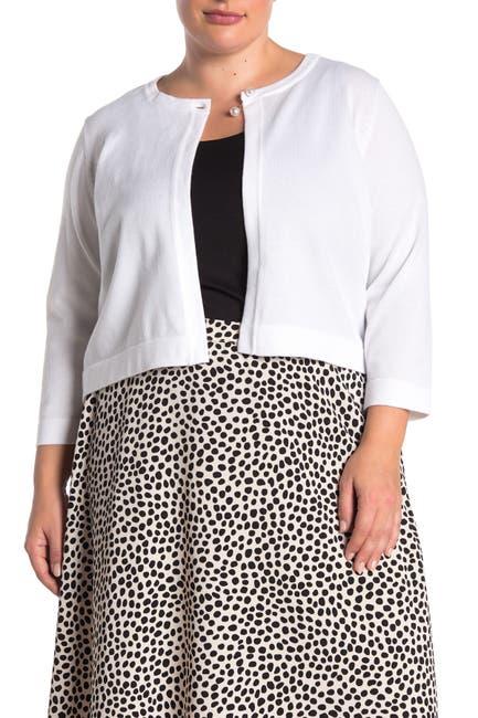 Image of Nina Leonard 3/4 Sleeve Pearl Button Cardigan