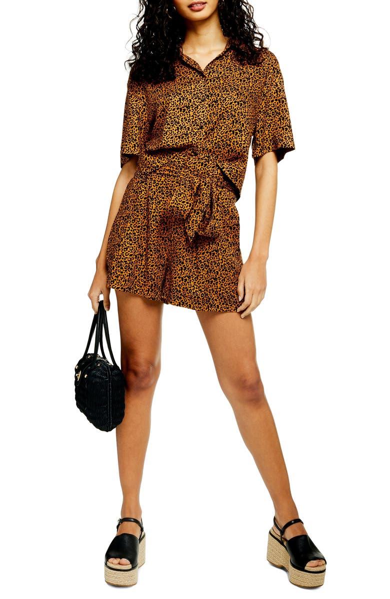 TOPSHOP Cairo Leopard Tie Waist Shorts, Main, color, BROWN MULTI