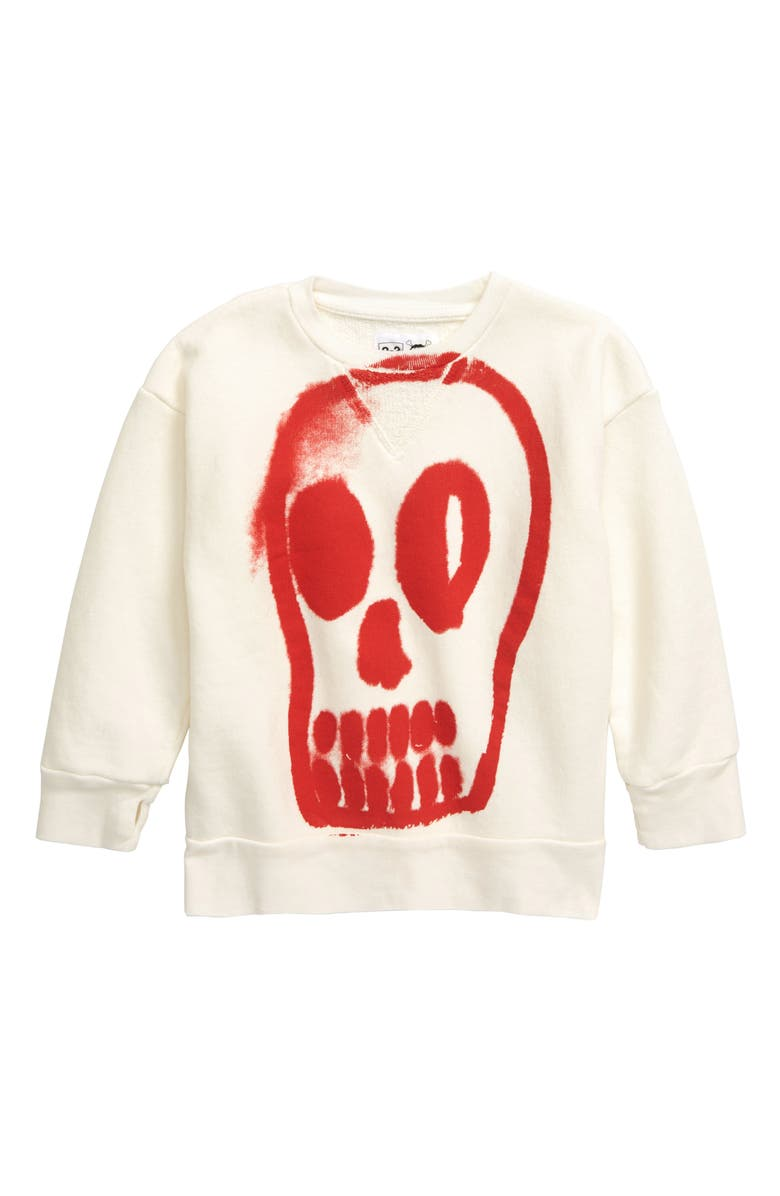 NUNUNU Painted Skull Sweatshirt, Main, color, WHITE